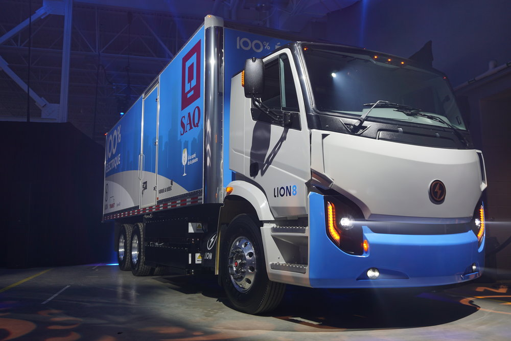 The first lion8 electric truck will be delivered to saq, the government-run alcohol distributor in quebec. image: lion electric