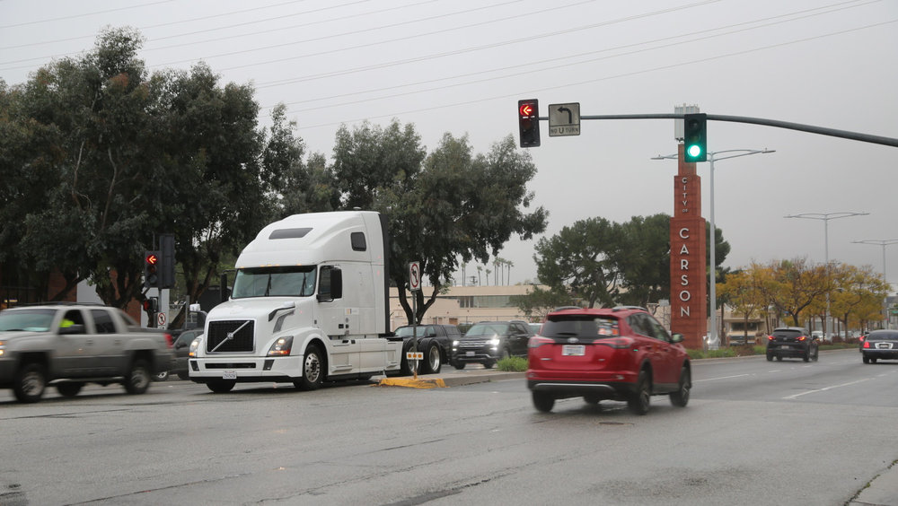 Volvo VNL equipped with prototype Eco-Drive technology during testing near the San Pedro Bay ports in Southern California.  ( Photo: Volvo Group )