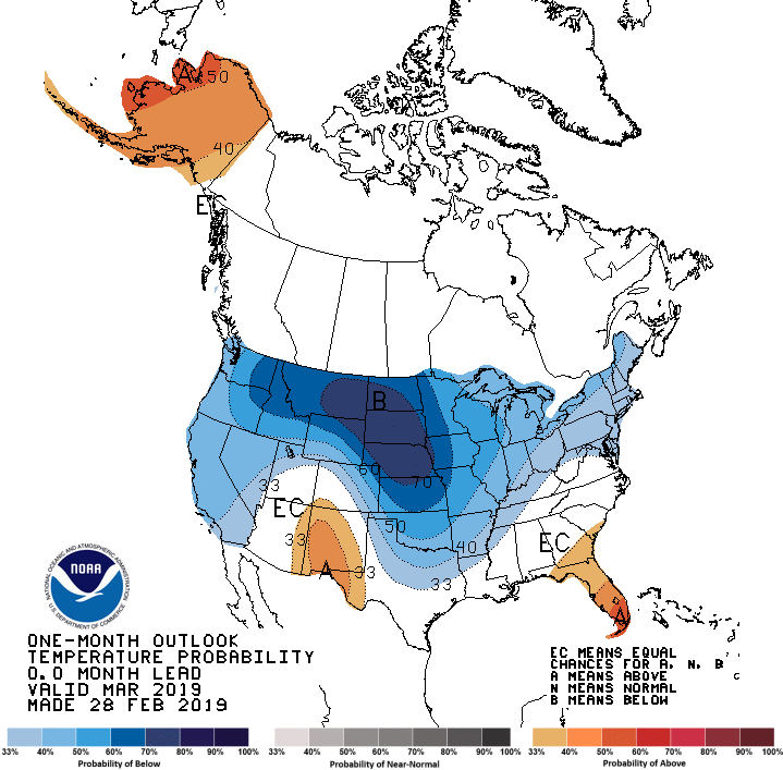 Temperature outlook for the rest of March.  (Source: NOAA)