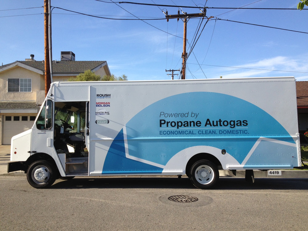 One of the benefits of propane is that it is a flexible fuel that can power vehicles from Class 1 cars and pickups, through lower-weight Class 8 vehicles. This is a propane-powered delivery van on a Ford F-59 stripped chassis with Morgan Olson body. ( Photo: Roush CleanTech )