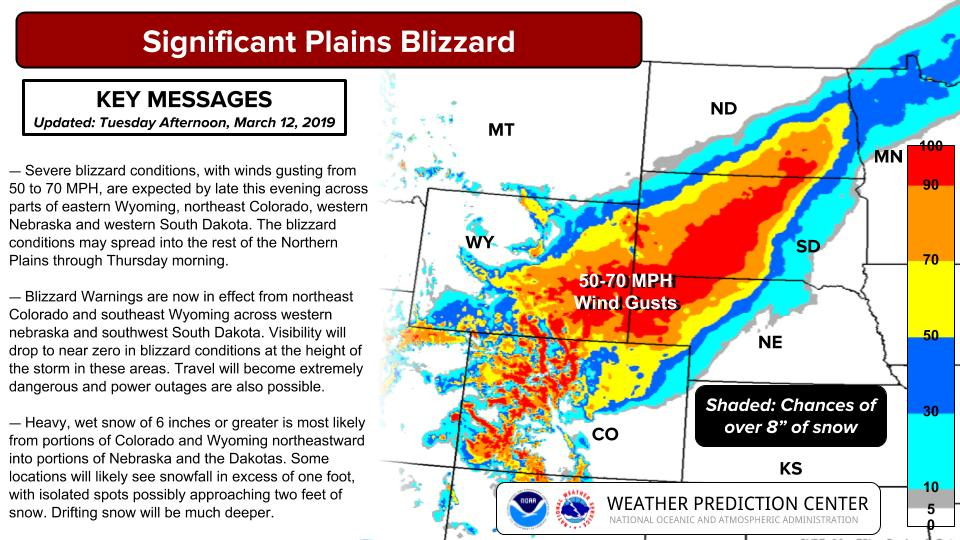 Blizzard to hit the Great Plains on March 13 and 14, 2019.