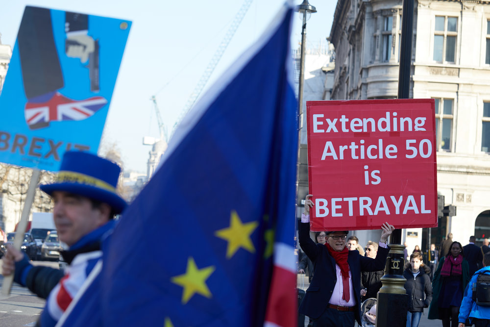 Brexit betrayed? Brexiteers fear long delay or cancellation of Brexit as Parliament flexes its muscles. Credit: By  Kevin J. Frost