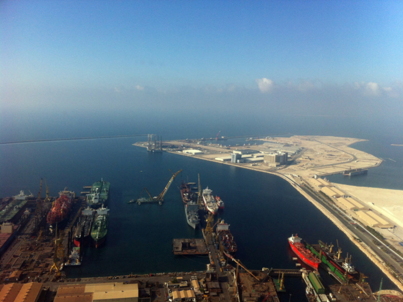 At the bottom and lower left of the picture is Dubai Drydocks. At the upper right is the reclaimed land site of Dubai Maritime City which hosts commercial and industrial precincts. Both were acquired by DP World.  Photo: Shutterstock.
