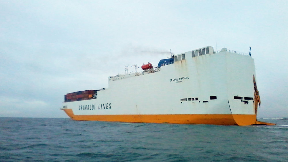 As the clean-up operation gets under way, Grimaldi Group lists cargo losses from Grande America. Credit: WikiMedia