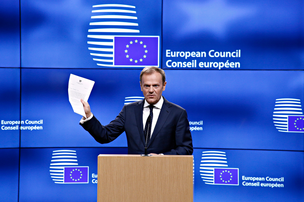 Donald Tusk says European Council could reconvene on 28 March if Theresa May's deal is rejected by Parliament again.Credit:  Alexandros Michailidis
