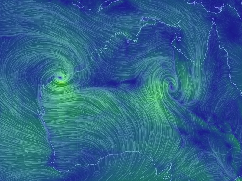 Cyclone Veronica is visible as a green swirl in the upper left of the picture / north-west of Australia. If Veronica soaks the iron ore stockpiles then there could be weeks of delay.  Graphic: Earth Nullschool.