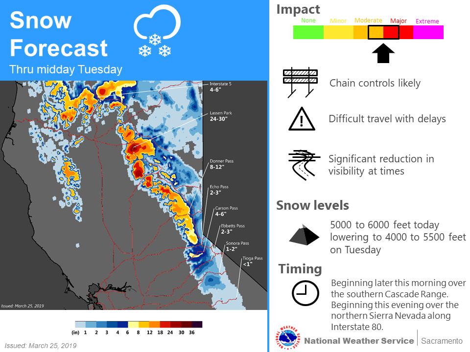Short-term snowfall outlook, Monday through Tuesday morning, March 26.  (Source: NOAA)