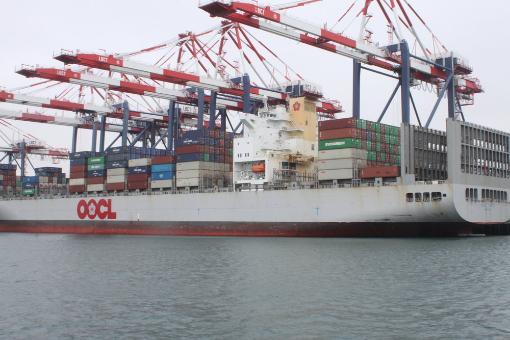 The OOCL Tokyo at the Long Beach Container Terminal