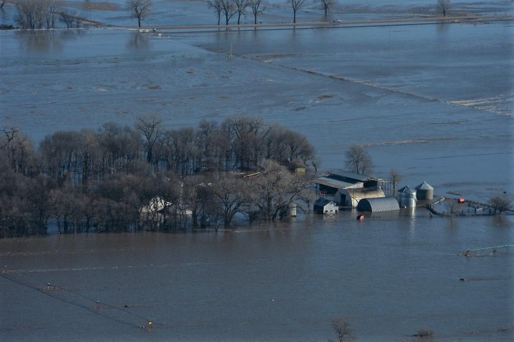 Major flooding near Lincoln, Nebraska on March 15, 2019.  (Photo: Jamie Titus/Nebraska Air National Guard)