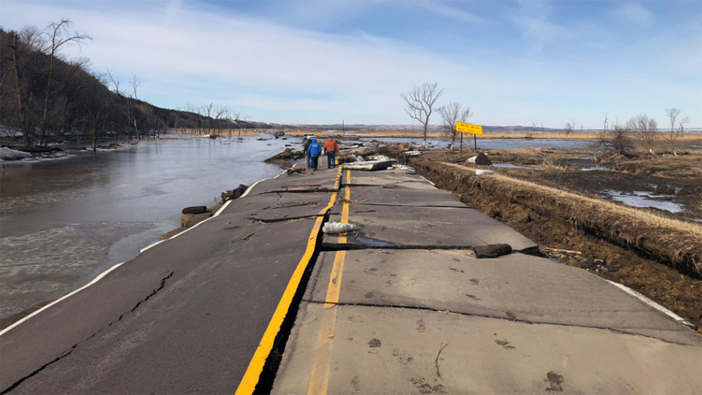 Flood damage on state route 12 near Niobrara, Nebraska on March 17, 2019.  (Photo: Nebraska Department of Transportation)