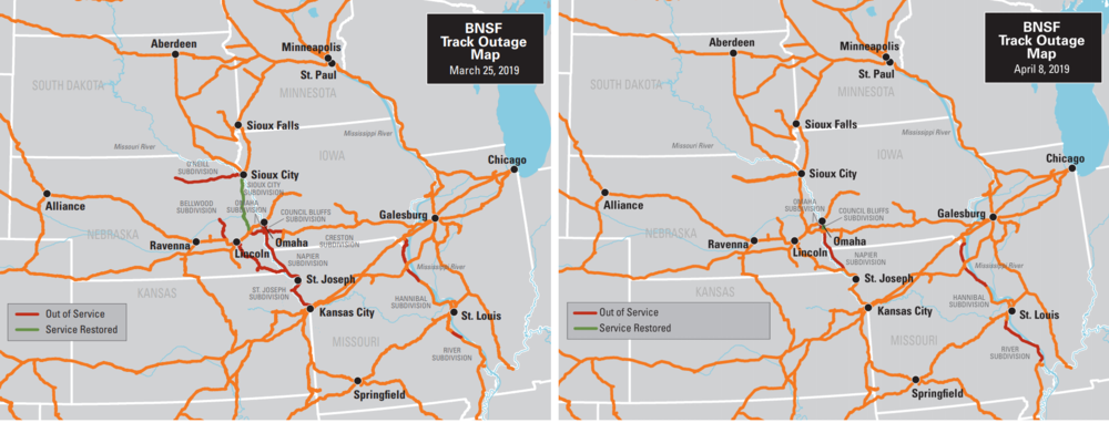 BNSF rail outages: March 25, 2019 (left), April 9, 2019 (right)