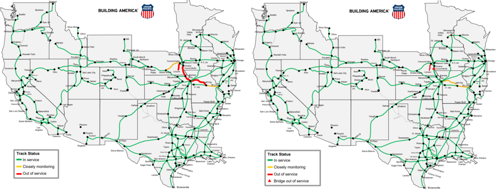 Union Pacific rail outages: March 28, 2019 (left), April 9, 2019 (right)