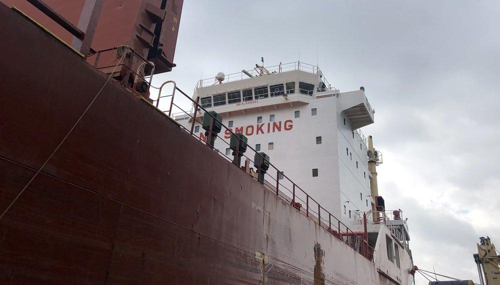 The M/V cape docked outside redpath sugar in Toronto. photo: Nate tabak