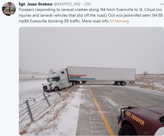 Tractor-trailer wreck on I-94 in Minnesota during a major snowstorm on Thursday, April 11, 2019.