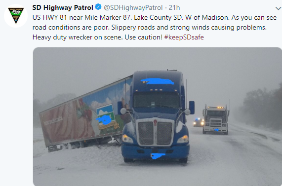Tractor-trailer wreck on US-81 in South Dakota during a major snowstorm on Thursday, April 11, 2019.