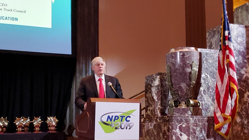Gary Petty, president and CEO of the National Private Truck Council, speaks during the opening general session at the the 2019 Annual Education Management Conference and Exhibition. ( Photo: Brian Straight/FreightWaves)