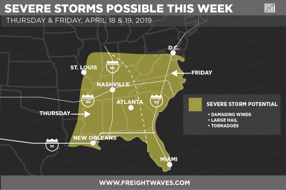 Estimated areas of potential severe storms this week.