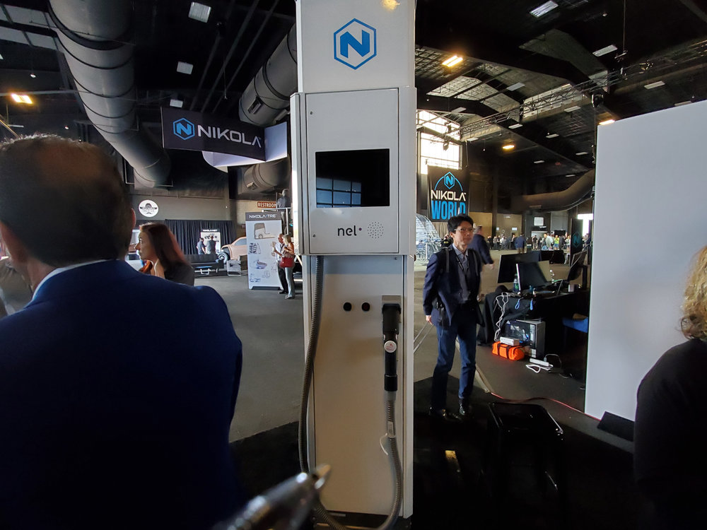 A Nel Hydrogen fueling pump is displayed during Nikola World 2019 in Scottsdale, Arizona, on April 17, 2019. Nel will build the hydrogen fueling stations for Nikola Motor as it deploys hydrogen-electric powered trucks. ( Photo: Brian Straight/FreightWaves )