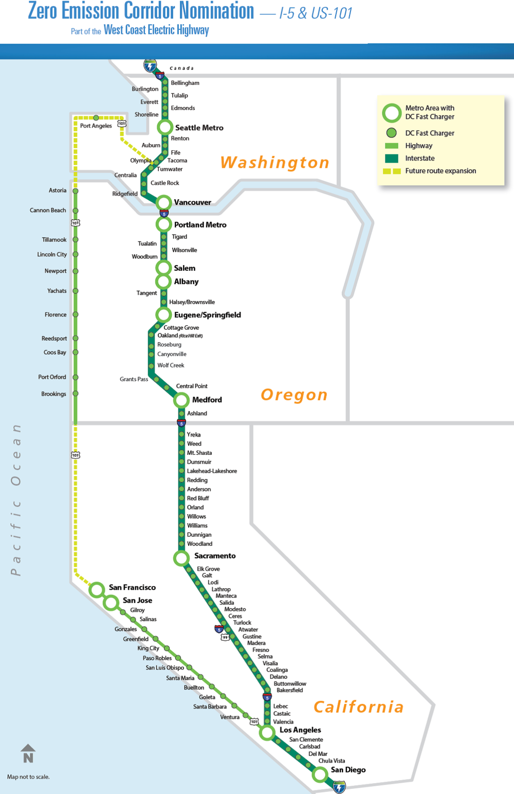 Potential sites for truck fast-charging stations along I-5 and state highways. (Source: WCCT)