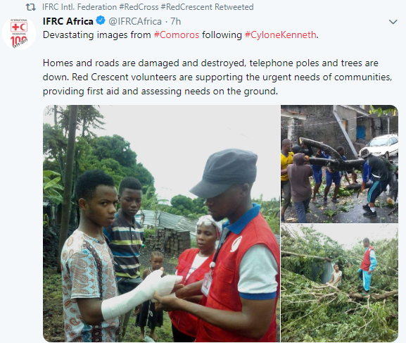 The International Federation of Red Cross and Red Crescent Societies helping cyclone victims on the island of Comoros on April 25, 2019.