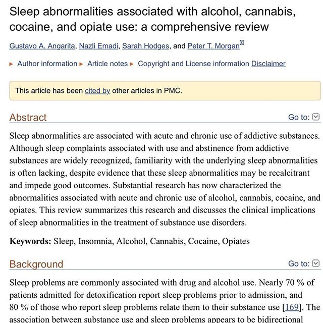 MARIJUANA & SLEEP  After my post on benzo's and sleep earlier in the week, there was a trend in comments of 'this is why I smoke weed instead' etc, and I received a few DM's asking for my opinion on using marijuana to aid in sleep.  So beyond the anecdote, what effects does marijuana have on sleep duration/quality?  To cover some basics, the molecules we will be looking at are THC and CBD, both cannabinoids. These molecules exhibit their actions after binding to cannabinoid receptors, the two we know about being CB1 and CB2. - THC in doses as low as 4mg decrease both REM and deep sleep in both regular users, and nonusers. - When regular users cease use of THC, time to fall asleep is increased. - Cannabis reduces time to fall asleep in individuals with sleep disturbance - CBD produces an alert state, whereas THC has a sedative effect - Regular users of cannabis suffer greater occurrence of sleep disturbances, less slow wave sleep, worse sleep efficiency, short REM latency and greater sleep onset when compared with nonusers. - CBD used alone showed zero improvements to sleep when compared to placebo.  To summarise the above from what we currently know, THC will worsen your sleep quality and duration, and CBD won't do anything. So if you use cannabis before bed, I'd preferentially move it to earlier in the day, and if you buy/use CBD oil for sleep specifically, save your money and don't bother.