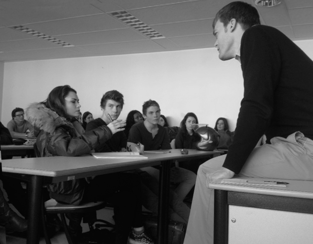 In Neuilly-sur-Seine, France, April 2013. As citizens nearby were protesting about marriage equality, Peter and these high school students discussed how people learn to talk about controversial topics.