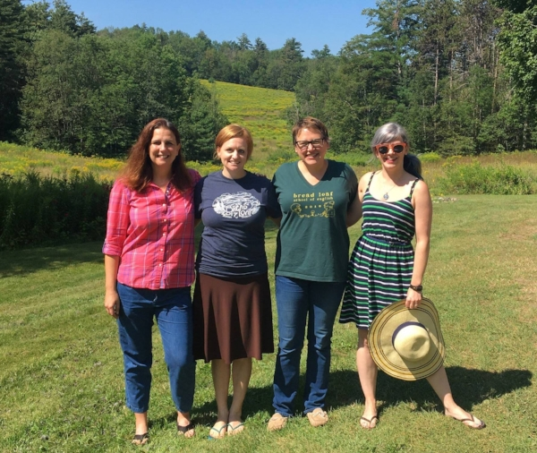 This episode's panel ( pictured left to right )--Stacy Rodgers, Amy McNeill, Robyn Lee Horn, and Sarah Murphy--just outside their rented farmhouse in Goshen, Vermont, August, 2017.
