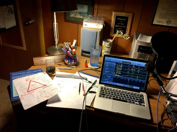 What writing sometimes looks like to me these days! Here's my podcast desk when I was making episode 004.