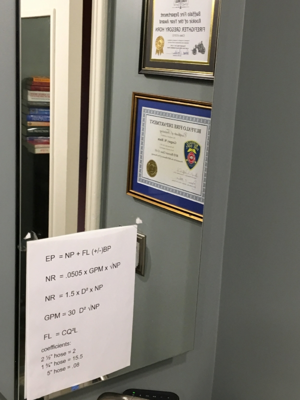 Greg's bathroom mirror, with material to be memorized for Buffalo Fire Department examinations