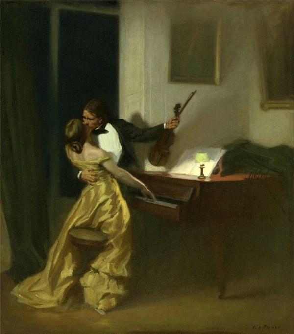 """Kreutzer Sonata,"" the painting by René Prinet that Halpin mentions as he discusses the romantic popular idea of the violin. Image from Wikimedia Commons."
