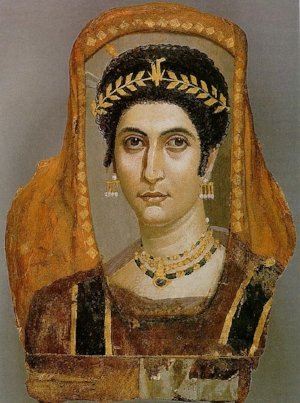 Encaustic portrait of Isidora. Egypt, 100 CE.