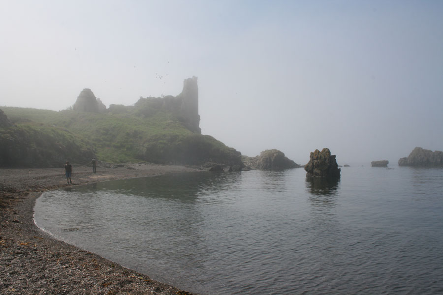 Drawing trip to a foggy Dunure Castle