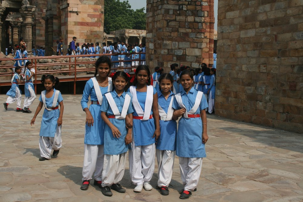 School girls at Qitab Minar