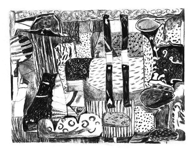 'Hot Memory (study)', charcoal on paper, 2018, 30 x 21 cm