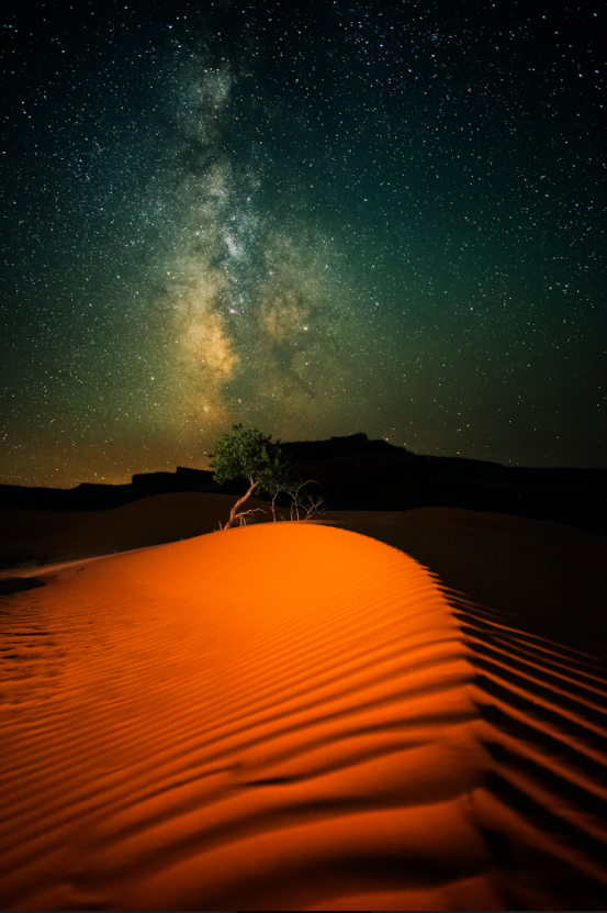 Orange sand with milkyway lines