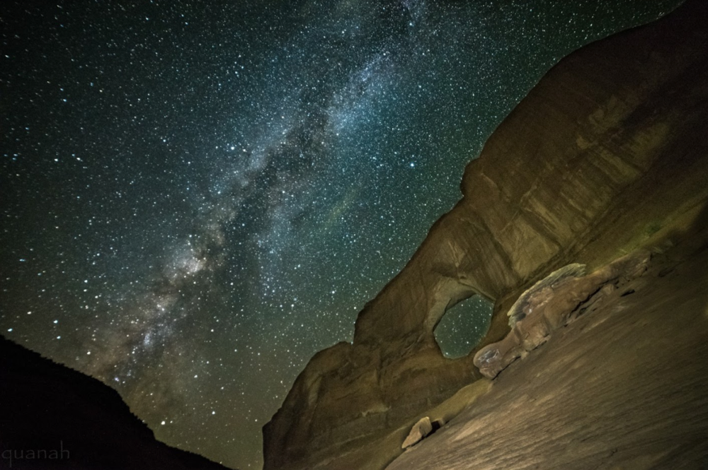 Full moon arch with milky way