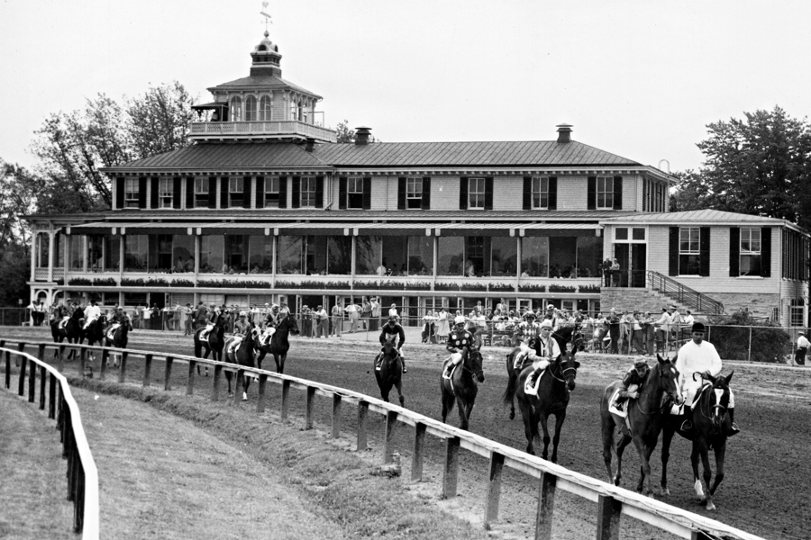 This is a photo of the Pimlico Race Track in Baltimore. When I was a kid, my Dad would take me and my brother to the racetrack and it was always a big time, the colors, the sounds, the smells and the yells.