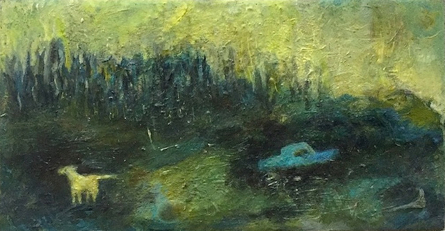This is a painting that inspired the song,  Lillian and the Blue Car . Duel, Eckley Park, oil on panel © 1997-2016  Ann Phelan
