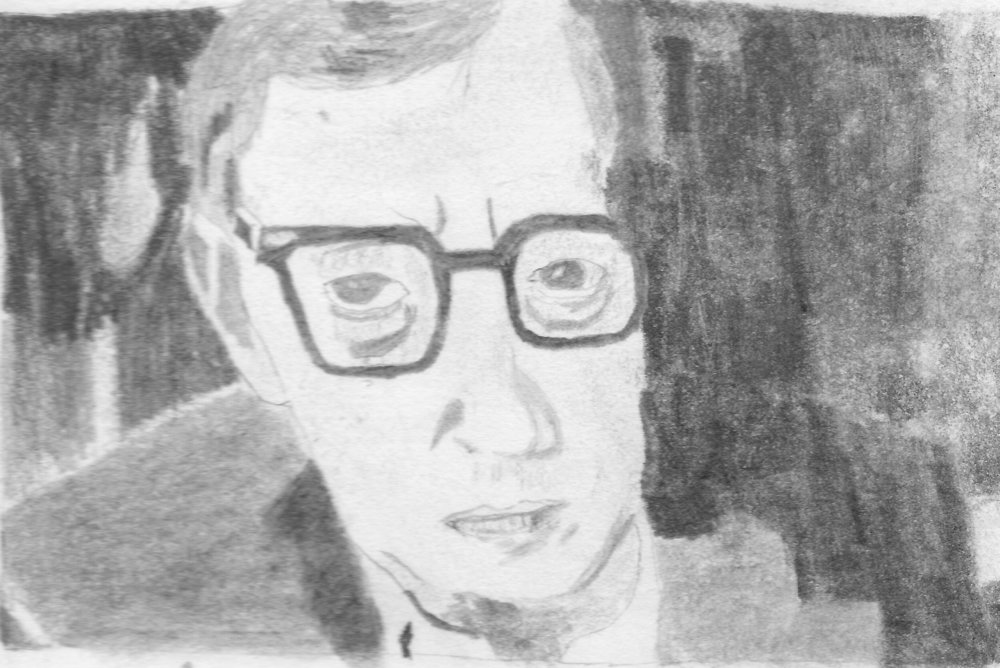 Woody Allen- He is one of my favorite film directors and screen writers. I drew this from a photograph from a biography by Eric Lax.