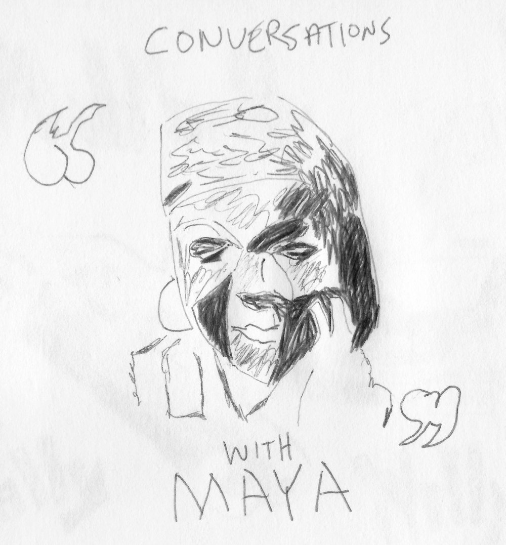 Maya Angelou- She is one of my favorite humans that has ever lived. This drawing is from a book cover.