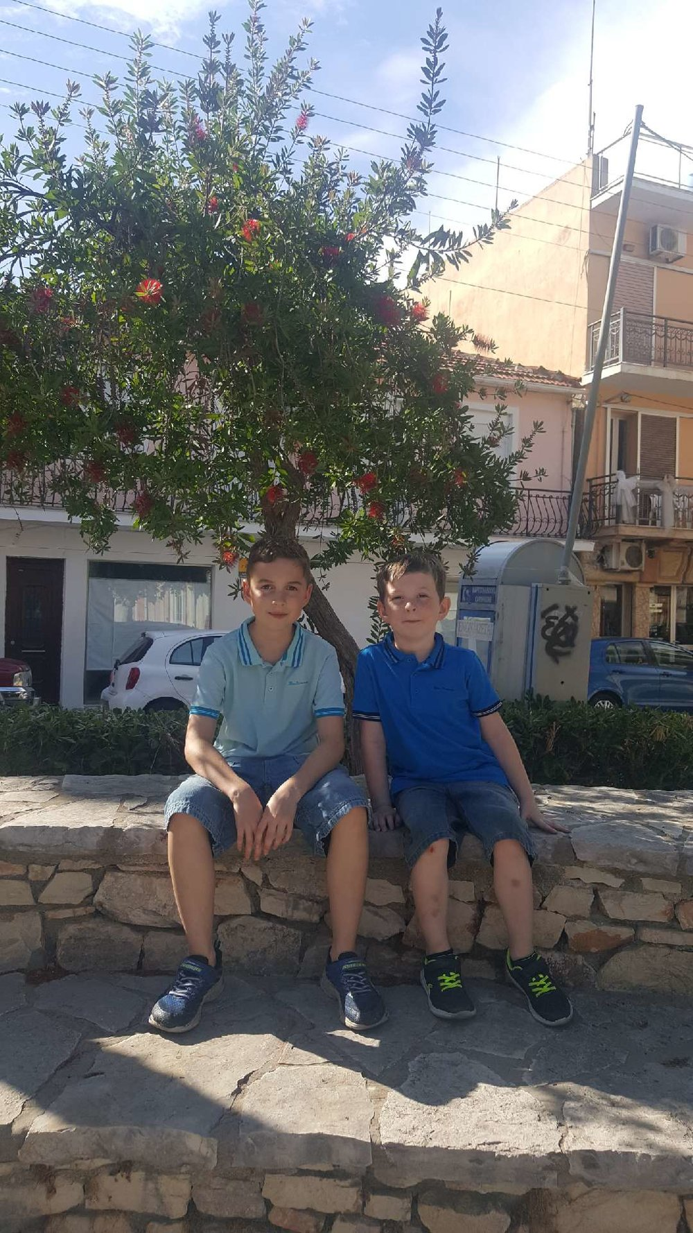 Seth and Leon relaxing in Greece