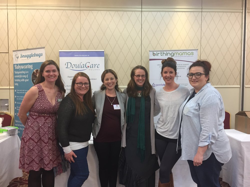 L- R: Jacquie, Gillian, Jen, Mary, Emer & Clare - some of the DoulaCare Ireland team at the Irish Positive Birth Conference. October 2017