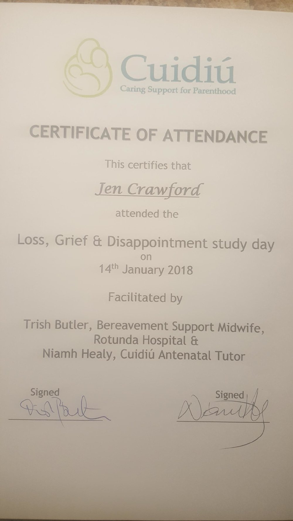 Certificate of Attendance for my Training Day with Cuidiu