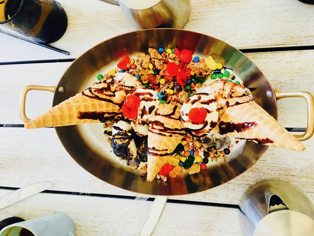 And in this case, wellness for me meant a giant salad and even bigger skillet of ice cream sundae :-)