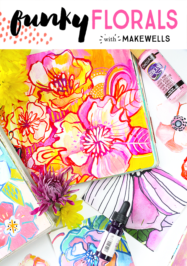 Dive into painting bold, funky floral pieces and learn to unwind and let loose in this fun, creative class taught by Megan Wells of Makewells.  Flowers are packed full of inspiration for Megan, and she gives you an upclose look into her creative process as she let's loose and creates. With flowers as our main subject matter, we'll use a variety of supplies to create mixed media, funky florals!  Sign up  HERE