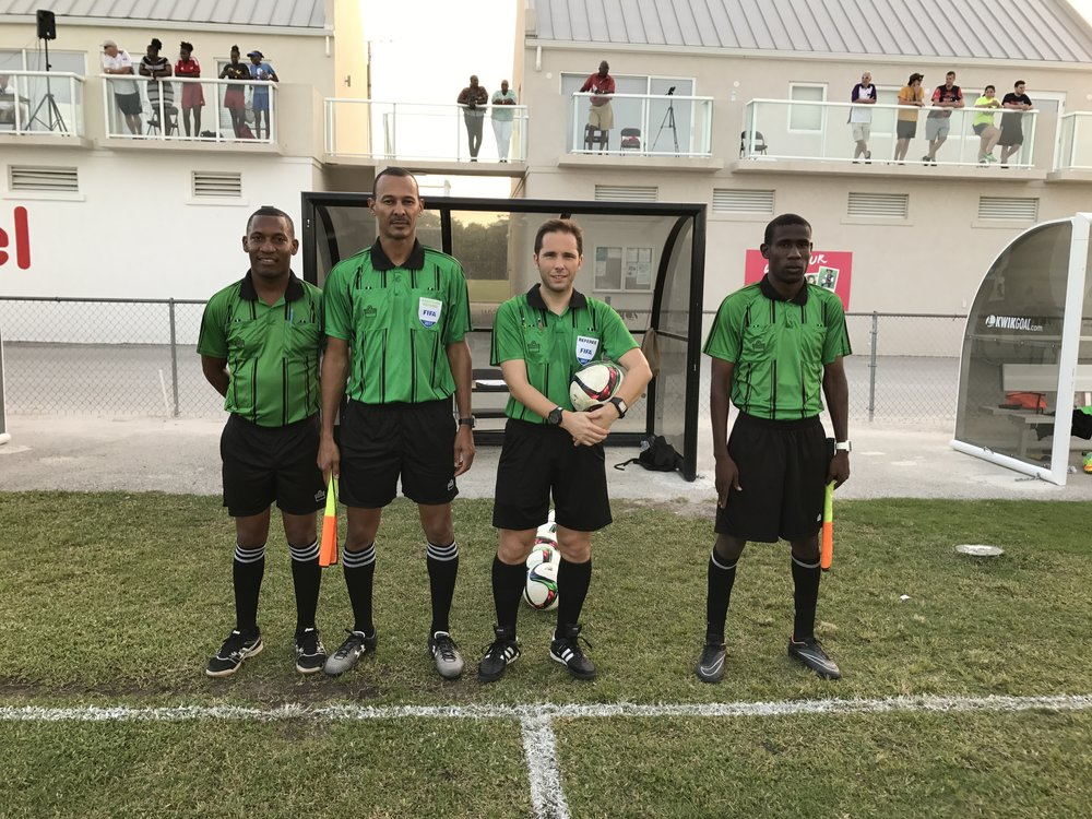 Match Officials (L-R) Johnny Suckrahj, Dane Ritchie, Gianni Ascani and David Jasmin