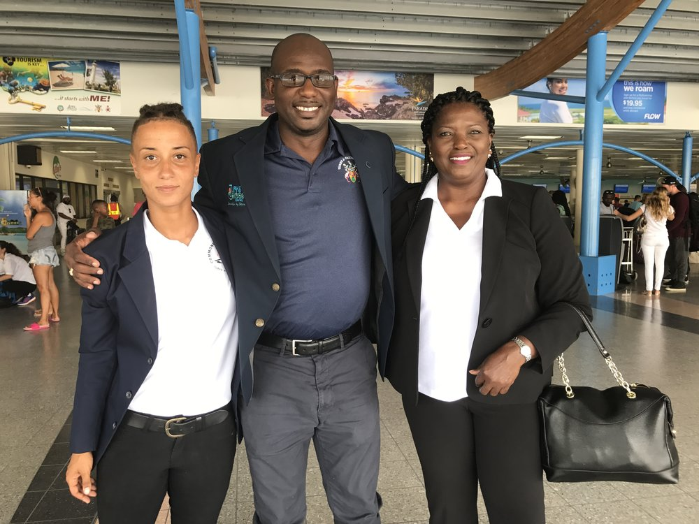 (L-R) Head Coach Olivia Graveley, TCI CGA President Alvirto Smith, Team Manager Paula Garland