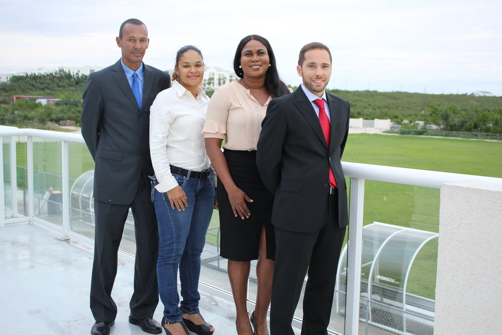 (L-R) Dane Ritchie (FIFA Asst. Referee), Patrice Senior (Executive Member ), Sonia Bien-Aime (President), Gianni Ascani (FIFA Referee)