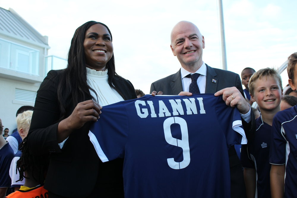 (L-R) TCIFA President Sonia Bien-Aime and FIFA President Gianni Infantino