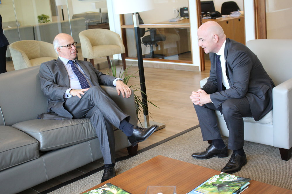 His Excellency Dr. John Freeman, FIFA President Gianni Infantino